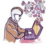 Человек беседуя с компьтер-книжкой бесплатная иллюстрация