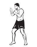 Человек бойца чертежа в шортах Стоковые Изображения RF
