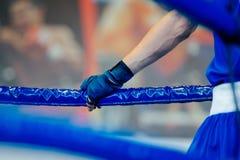человек боксера в угловом боксерском ринге Стоковые Фотографии RF