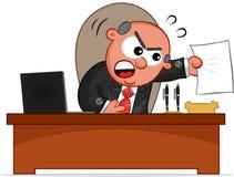 Человек босса сердитый с бумагой Стоковые Изображения