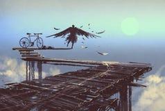 Человек будет птицей стоя на конце линии Стоковые Фото