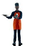 Человек варя изолированный силуэт шеф-повара Стоковое фото RF