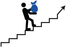 Человек взбираясь с деньгами Значение денег идя вверх значок Стоковое Изображение