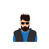 Человек воплощения значка профиля мужской, портрет бороды Гая шаржа битника, вскользь сторона силуэта персоны Стоковые Фотографии RF