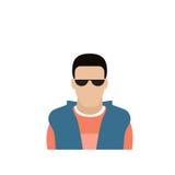 Человек воплощения значка профиля мужской, портрет Гая шаржа битника, вскользь сторона силуэта персоны Стоковое Изображение RF