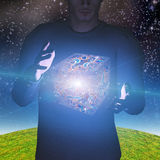 Человек волшебно levitates коробка иллюстрация вектора