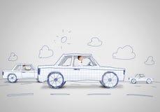 Человек в автомобиле Стоковое Изображение