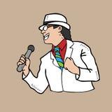 Человек в белый петь Стоковое фото RF