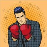 Человек в иллюстрации вектора перчаток бокса в шуточном стиле искусства шипучки Бизнесмен готовый для боя и для того чтобы защити бесплатная иллюстрация