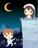 человек в костюме свадьбы предлагает к его влюбленности, стойке в замке милое vec Стоковые Изображения