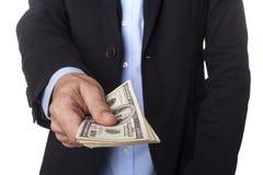 Человек в костюме с долларами Стоковые Фотографии RF
