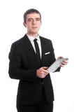 Человек в костюме с ПК таблетки Стоковое Фото