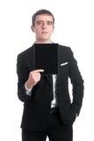 Человек в костюме с ПК таблетки Стоковое Изображение RF