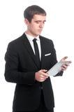 Человек в костюме с ПК таблетки Стоковые Фотографии RF