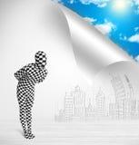 Человек в костюме тела избегая от города к принципиальной схеме природы Стоковая Фотография RF