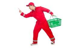 Человек в красных coveralls стоковые изображения rf