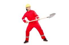 Человек в красных coveralls Стоковые Фотографии RF