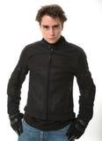 Человек в куртке мотоцикла Стоковое Изображение