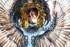 Человек в майяском костюме ратника Стоковое Фото