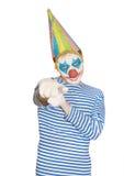 Человек в маске клоуна в striped футболке Стоковые Фото