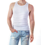 Человек в модель-макете футболки Стоковые Фото