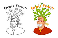 Человек в поисках идей с открытой головой, молчаливой не поговорить, слушает Иллюстрация вектора