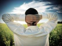 Человек в поле лета Стоковое фото RF