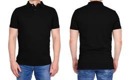 Человек в пустой черной рубашке поло спереди и сзади Стоковые Фотографии RF