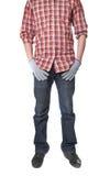 Человек в работая форме, и перчатки работы Стоковое фото RF