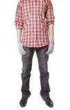 Человек в работая форме, и перчатки работы Стоковые Фотографии RF