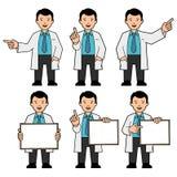 Человек в связи и белая лаборатория покрывают иллюстрация вектора