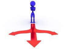 Человек в сини около развилки #1 иллюстрация вектора