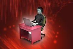 Человек в современном столе с компьтер-книжкой Стоковые Фото