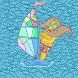 Человек в солнечных очках плавая на волны на доске для windsur иллюстрация штока
