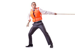 Человек в спасательном жилете Стоковые Фото