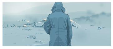 Человек в тумане Стоковые Изображения