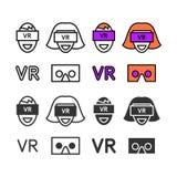 Человек в установленных значках шлемофона виртуальной реальности Стоковое Изображение