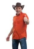 Человек в шлеме ковбоя Стоковые Изображения