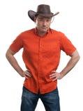 Человек в шлеме ковбоя Стоковое Фото