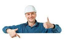 Человек в шлеме конструкции Стоковая Фотография RF