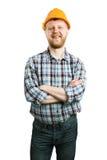 Человек в шлеме конструкции стоковая фотография