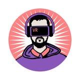 Человек в шлемофоне виртуальной реальности Стоковое Фото