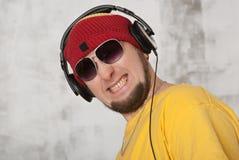 Человек в headphon Стоковые Изображения RF