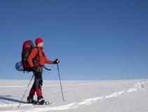 Человек в snowshoes в горах Стоковые Изображения