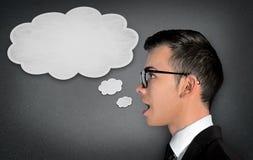 Человек говоря в пузыре текста Стоковые Фотографии RF