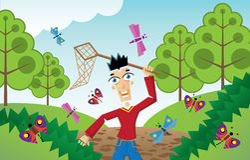Человек гоня бабочек и насекомых Стоковое Фото