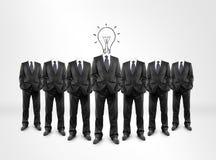 Человек, голова электрической лампочки Стоковая Фотография