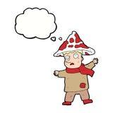 человек гриба шаржа волшебный с пузырем мысли Стоковое Изображение
