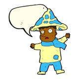 человек гриба шаржа волшебный с пузырем речи Стоковое Фото