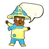человек гриба шаржа волшебный с пузырем речи Стоковое Изображение RF
